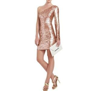 BCBGMaxazaria S Lyn copper Pailette sequin dress